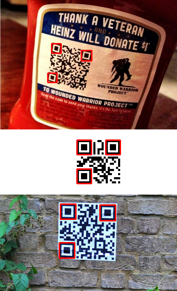 Results of detecting the finder patterns in the QR code