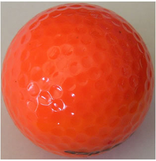 A standard orange golf ball