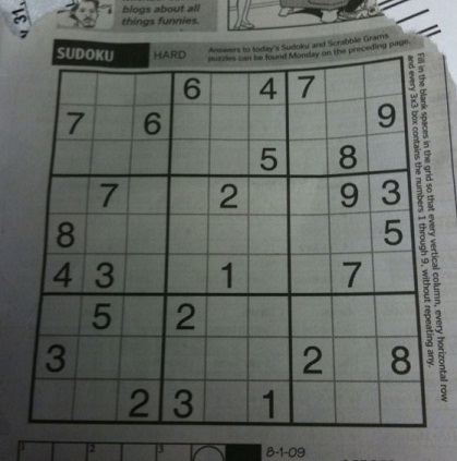 A picture of a SuDoKu puzzle taken from a camera